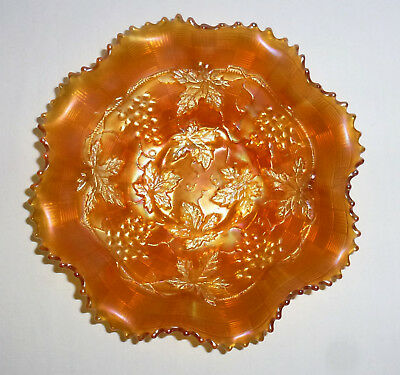 "Northwood Carnival Glass Marigold Bowl Grape & Cable (8 3/4"")"