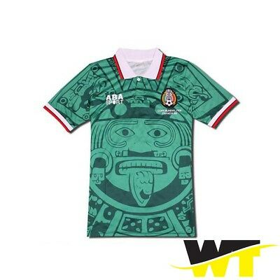 1998 Mexico World Cup Home Retro Vintage Soccer Jersey ABA Sport Green Retro 35f48383d
