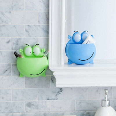 Frog Design Toothbrush Holder Wall Mount Suction Cup Toothpaste Storage Rack G
