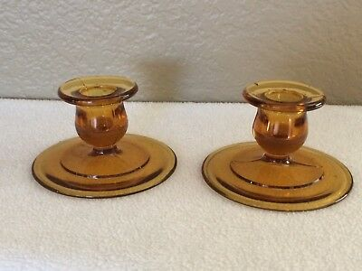 "Set of Two Amber Glass Candlestick Holders 2.5"" tall Each  Beautiful!"