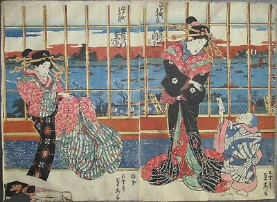 Sadahide - Beauties by the River - Japanese Woodblock Print 1830s