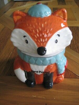 Winter Fox Candy Jar 100% Earthenware Hand Painted Dishwasher Safe