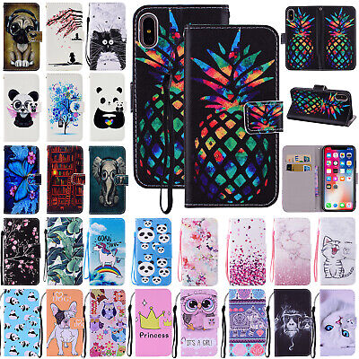 For iPhone XS Max XR 7 8 Plus Phone Case Leather Strap Wallet Card Stand Cover