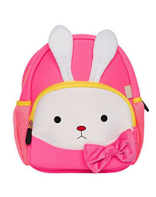 Toddler Preschool Little Kids Backpack Waterproof 3D Furry Rabbit Bunny Pink
