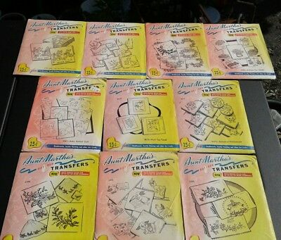 Lot of 10 Assorted AUNT MARTHA'S Hot Iron TRANSFERS MADE IN USA