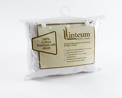Linteum Textile 28x52x9 in, White Premium Jersey Knit BABY CRIB FITTED SHEET,