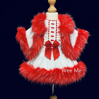 Stunning Wee Me Baby Girl Spanish Fur Dress and Fur Cape Set/ White with Red