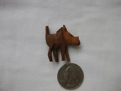 Carved Wood Wooden Very Small Warthog Pig Hog