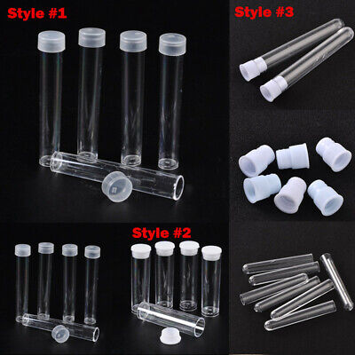 200x Clear Tube Plastic Bead Container w/ Lid Cover Mini Storage Cylinder 3 Type
