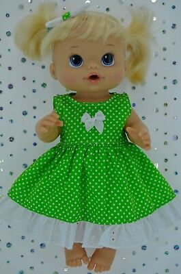 "Play n Wear Doll Clothes To Fit 13"" Baby Alive LIME POLKA DOT DRESS~HEADBAND"