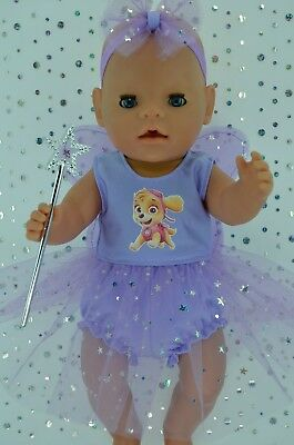 "Play n Wear Doll Clothes For 17"" Baby Born LILAC FAIRY~PANTS~HEADBAND~WAND"