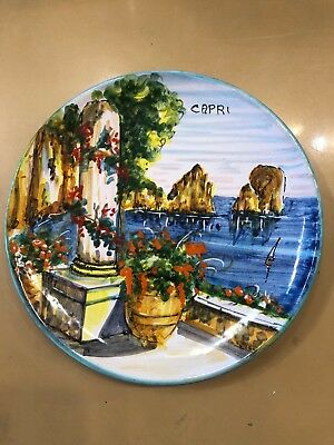 Vietri Pottery-8 inch Plate Capri scenery.Made/Painted by hand in Italy