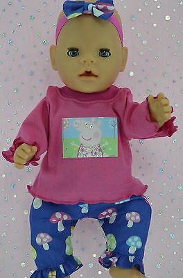 "Play n Wear Doll Clothes To Fit 17"" Baby Born MUSHROOM PANTS~TOP~HEADBAND"