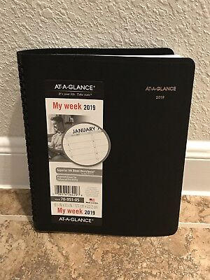 At-A-Glance 2019 Weekly Planner New Year Black Calendar 70-951-05 Appointment