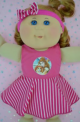 "Play n Wear Doll Clothes To Fit 14"" Cabbage Patch STRIPE CIRCLE DRESS~HEADBAND"