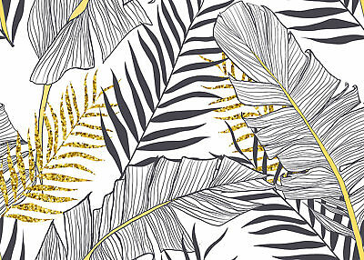 Canvas Print Stretched 70x50 Black Gold Leaves Wall Art Home Decor