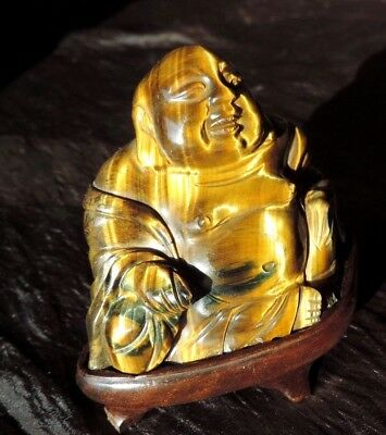 ANTIQUE  Chinese Carved Tiger Eye  Buddha with Golden Nanmu (金絲楠木) Stand .