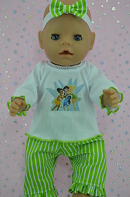 "Play n Wear Doll Clothes To Fit 17"" Baby Born LIME STRIPE PANTS~TOP~HEADBAND"