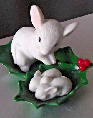 Christmas Mouse with Sleeping Babies in a  Holly Leaf Cluster, ~ Figurine