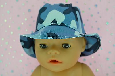 """Play n Wear Doll Clothes To Fit 17"""" Baby Born BLUE CAMOUFLAGE DRILL SUN HAT"""