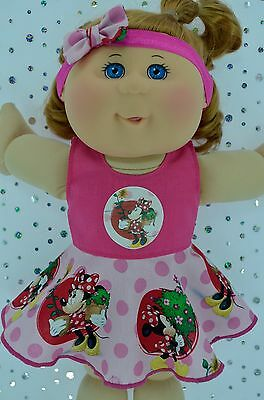 "Play n Wear Doll Clothes To Fit 14"" Cabbage Patch HOT PINK CIRCLE DRESS~HEADBAND"