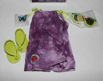 American Girl Lea's Beach Dress Set Outfit Sandals Sunglasses Butterfly Clip Lea