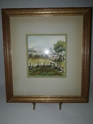 Original Watercolor Painting Barbara N. Stoll Signed Landscape Framed and Matted