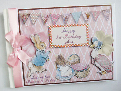 Personalised Peter Rabbit Birthday/baby Shower Guest Book - Any Design