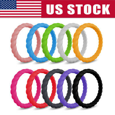 Silicone Ring 10 PACKS Women's Set Size 5 6 7 8 9 Stackable Wedding Band Twist