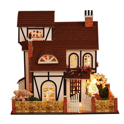 Dollhouse Miniature DIY Kit with Cover Wood Toy Doll House Cottage W/LED lights