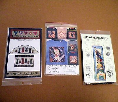 NIP Quilt Pattern Lot of 3 WHIMSICAL ANGELS, STITCHED WITH SCRAPS, SCARECROW