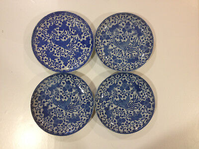 Fine Japanese Antique Blue & White Porcelain Saucer Plate (4 Pieces)