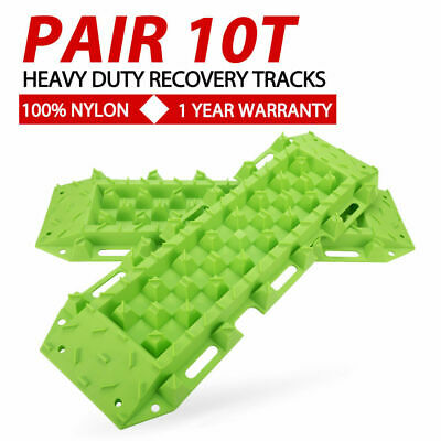 Pair 4WD Recovery Tracks Off Road 4x4 Sand Snow Mud 10 Ton Tyre Ladder Green