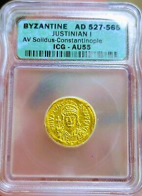 ICG Ancient Byzantine Gold Coin Justinian I Solidus 527 AD  Gorgeous AU55 Coin