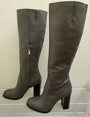 172c9beb7afb88 Sam Edelman REGINA Women s Gray Leather Side Zip Knee High BOOTS Size 10