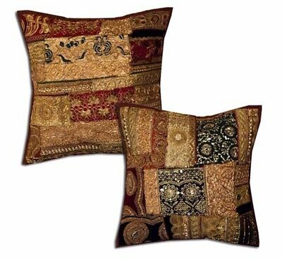 """16""""-2 Brown Rich Vintage Sari Sequin Beaded Accent Floor Cushion Pillows Covers"""