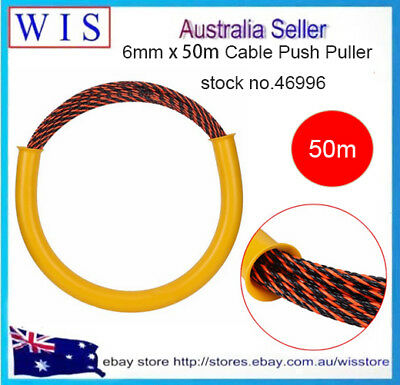 6.0mm x 50m  Cable Push Puller Rodder Conduit Snake Fish Tape Tested 650Kg-46996