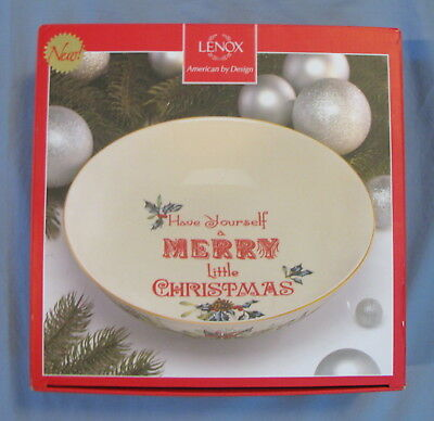 """Lenox Holidays Have Yourself a Merry Little Christmas Sentiment Bowl 11"""" NEW"""