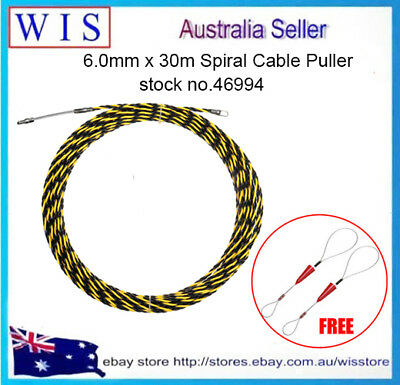 3 Core Woven Fish Tape,Yellow & Black Woven Braided Cable Puller,6.0mm x 30m(L)