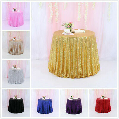 72\  Round Sparkly Sequin Tablecloth Wedding Party Table Cover Banquet Decoration & 72\