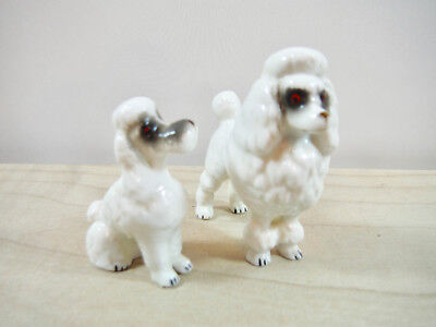 Pair Napco? Fine Porcelain White Miniature Poodle Figurines White Vintage Dogs