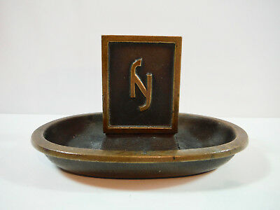 Vintage Antique Arts & Crafts Brass Ashtray & Match Holder - New York? Hotel?