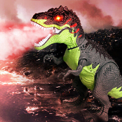 Kids Toy Walking T-Rex Dinosaur Toy Figure Spray With Lights Sound Real Movement