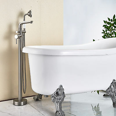 Senlesen Stainless Steel Floor Mounted Bathtub Faucet Hot Cold Water Tap Shower