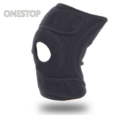 Black Neoprene Adjustable Open Knee Patella Tendon Support Brace Sleeve UK STOCK