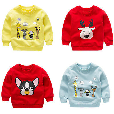 Baby Kids Boys Girls Cute O-Neck Sweatshirt Cartoon Animal Warm Tops Clothes