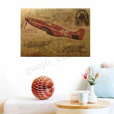 Vintage Plane Bar Pub Potter Poster Retro Kraft Paper Picture Home Room Decor