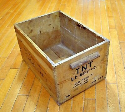 Vintage October 1940 Atlas Powder Company Wood Crate High Explosives Box