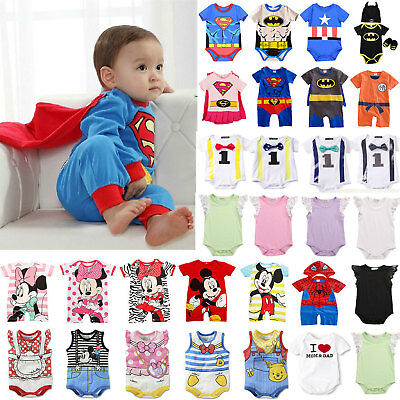 Newborn Baby Soft Superhero Romper Bodysuit Jumpsuits Clothes Outfits Summer UK