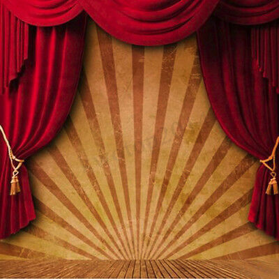 10x10FT Circus Red Curtain Stage Photography Backdrop Background Valentine's Day